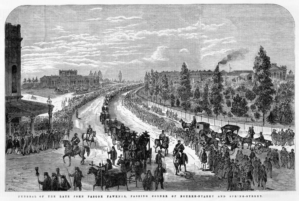 [John Pascoe Fawkner's Funeral Procession]