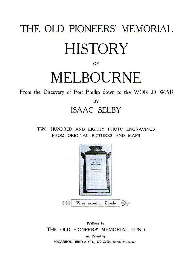 [Isaac Selby's History of Melbourne]